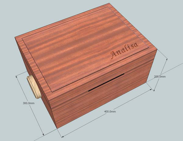 Computer rendered sketch of a wooden box